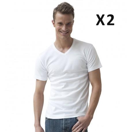 Lot de 2 T-shirts blancs, coton bio hypoallergénique, col en V