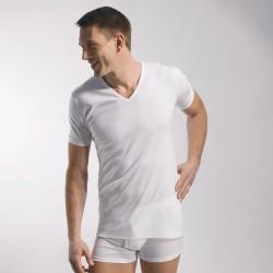 T-shirt 318 pur coton manches courtes col en V blanc - ref : 0318 0001