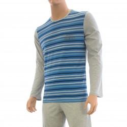 Pyjama rayure Dénim jean & gris - ref :  7F51 1782