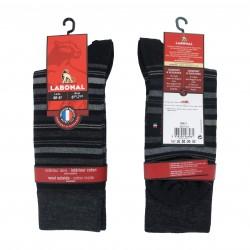 Mi-Chaussettes Laine noires rayées