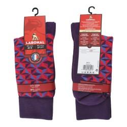 Mi-Chaussettes coton, sans couture, prune