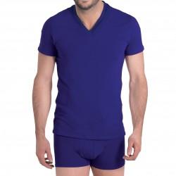 T-shirt indigo col V