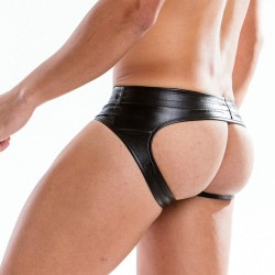 Slip bottomless leather - ref :  20514 BLACK