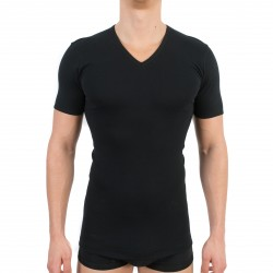 T-shirt 318 pur coton manches courtes col en V noir