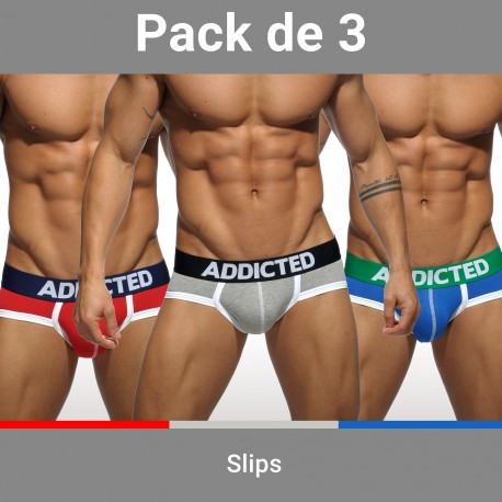 Lot de 3 slips ADDICTED - ref : AD301P BASIC BRIEF PACK