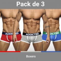Lot de 3 boxers ADDICTED - ref :  AD302P 3 COLORS
