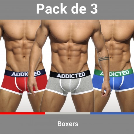 Lot de 3 boxers ADDICTED - ref :  AD302P 3 COLORS