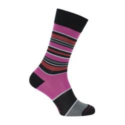 Chaussette rayée noir & rose - LABONAL 34448-8963