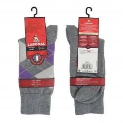 Mi-chaussettes Intarsia violet gris chiné - LABONAL 34189 3200