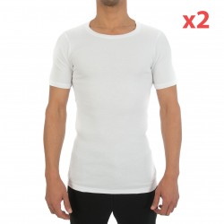 T-Shirt Crew Neck Two Cotton blanc (Lot de 2)