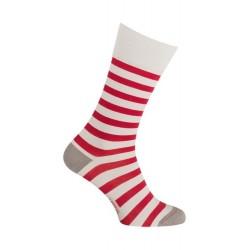Chaussettes Coton gris perla rayées rouge - LABONAL 34591 3020