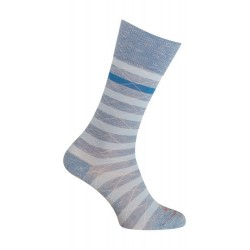 Chaussettes - Moulinée rayures coton - bleu