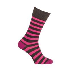 Chaussettes - Moyennes rayures colorées coton - terre noire