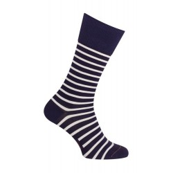 Chaussettes - Thème marin rayures coton - Marine
