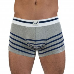 Shorty gris, rayures marine