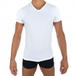 Tee-Shirt Uni col V blanc - EDEN PARK E351E60 001