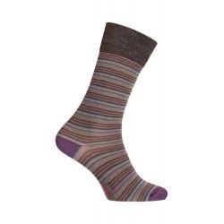 MI-CHAUSSETTES Rayures colorées laine - Sans couture - Gris - LABONAL 38975 3200