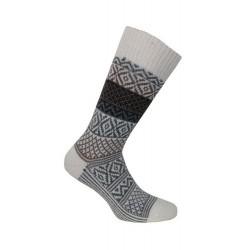 MI-CHAUSSETTES Grosse maille motif norvégien coloré laine/acrylique - Écru - LABONAL 37063 2400