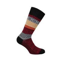 MI-CHAUSSETTES Grosse maille motif norvégien coloré laine/acrylique - Noir/Rouge - LABONAL 37063 8001