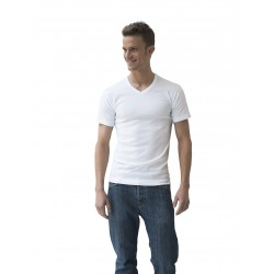 acheter-des-articles-de-mode-pour-homme-Athéna-Lot de 2 T-shirts blancs, coton bio hypoallergénique, col en V - T-shirt manche