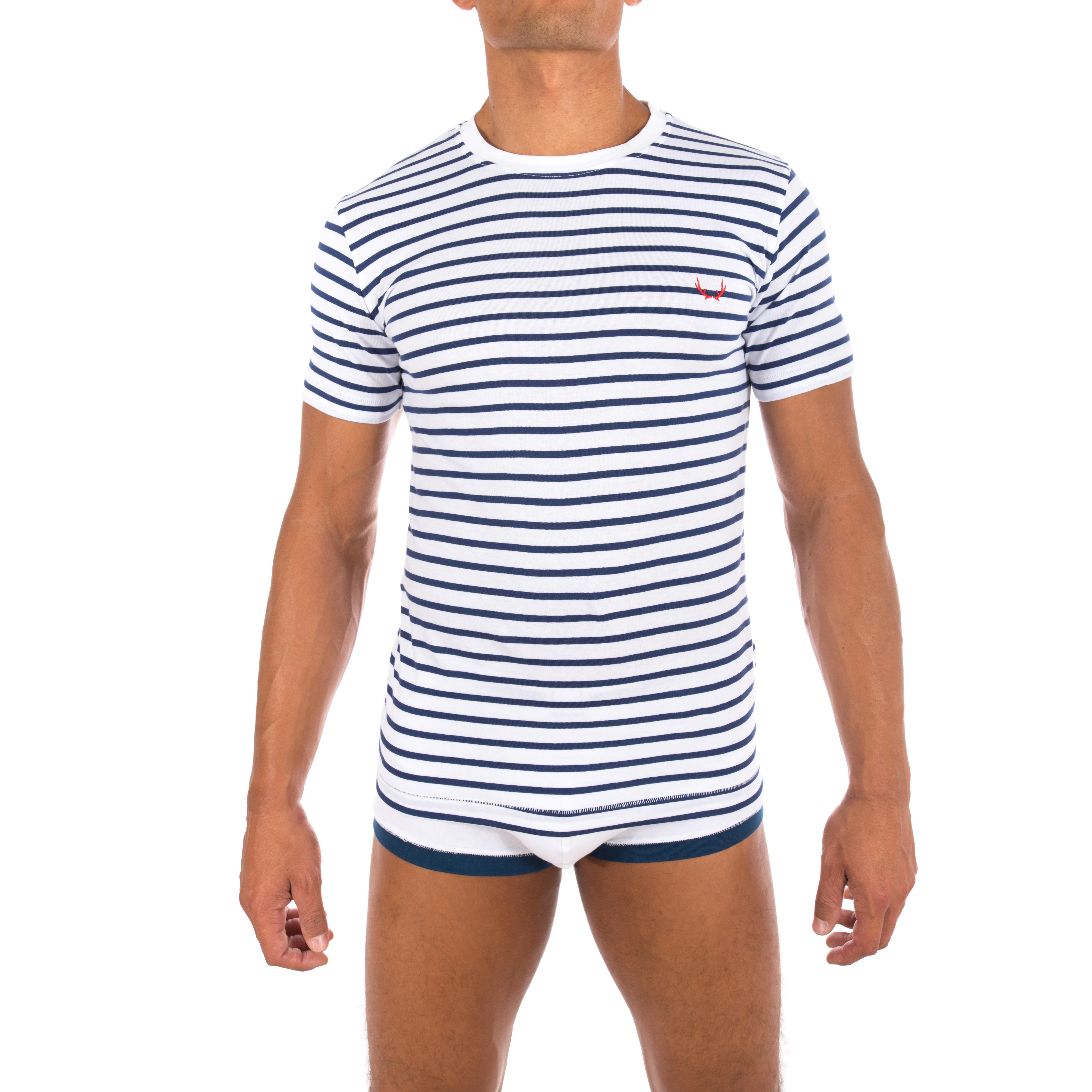 4f6c6792491a T-Shirt marin blanc - BLUEBUCK   vente T-shirt manches courtes homm...
