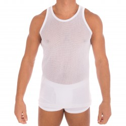 Tank top, white sifted stitch