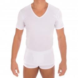 T-shirt 318 pur coton manches courtes col en V blanc