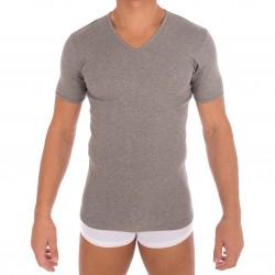 T-shirt 318 pur coton manches courtes col en V gris chiné