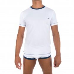 T-shirt blanc, encolure marine - BLUEBUCK TS-WF3