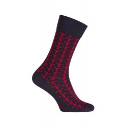 MI-CHAUSSETTES Ancres marin coton - Sans couture marine et rouge - LABONAL 34755 1090