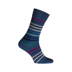 MI-CHAUSSETTES Rayures multicolores coton - Sans couture - bleu - LABONAL 34759 1250