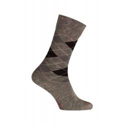 Intarsia-Mittelsocken Baumwolle - nahtlos - schwarz