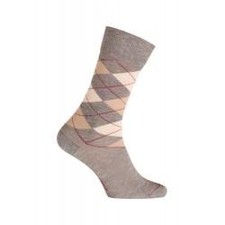 MI-CHAUSSETTES Intarsia effet mouliné coton - Sans couture - gris - LABONAL 34768 3000