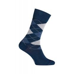 MI-CHAUSSETTES Intarsia effet jean coton - Sans couture - Bleu indigo - LABONAL 34764 1000