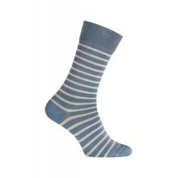 MI-CHAUSSETTES Rayures bicolores effet jean coton - Sans couture - Bleu jean/Blanc - LABONAL 34756 1100