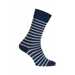 MI-CHAUSSETTES Rayures bicolores effet jean coton - Sans couture - Bleu indigo/Blancjean/Blanc - LABONAL 34756 1000