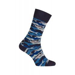 MI-CHAUSSETTES Requins coton - Sans couture - Marine/Blanc - LABONAL 345757 1070