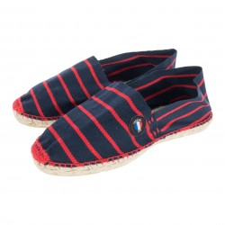 Striped espadrilles made in France - Navy Red