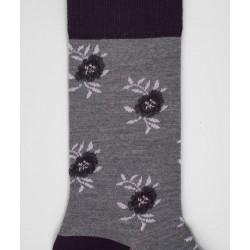 Chaussettes Fleurs Laine Gris - LABONAL 38994 3200