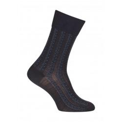 Chaussettes Ajourées all over géométriques Laine Bleu - LABONAL 38984 1000