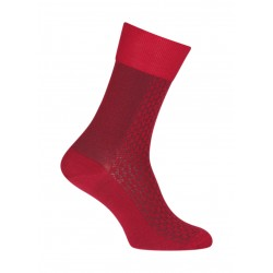 Chaussettes Ajourées bicolores vertical Laine Rouge - LABONAL 38883 9100