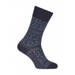 Chaussettes Motifs norvégien bicolores épaisses Polyamide Bleu