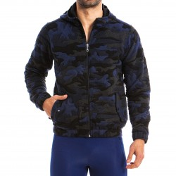 JOCK Camo hooded jacket blue