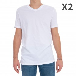 Lot de 2 T-shirt  V neck essentiel - blanc