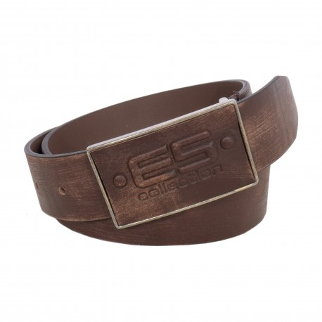 LEATHER BELT WITH EMBOSSED LOGO - ES COLLECTION BLT06 C13