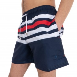 Tricolor striped swim shorts
