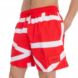Short de bain Medium Drawstring - Klein abstract flame scarlett