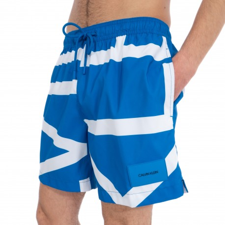 Short de bain Medium Drawstring - Klein abstract imperial bleu - CALVIN KLEIN KM0KM00274-453
