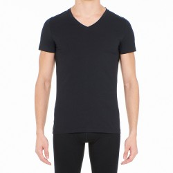 T-shirt col V Supreme Cotton - noir - HOM 401331-0004