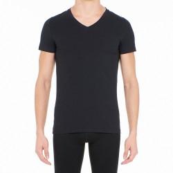 T-shirt col V Supreme Cotton - noir - HOM 401331-0004